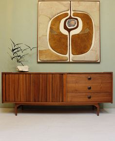 Mid Century Modern CREDENZA by John Keal for Brown Saltman FREE SHIPPING Vintage Walnut Furniture Sideboard Buffet dresser 1950s Danish