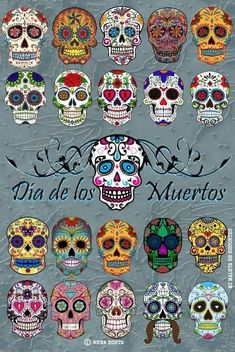 Find Set Sugar Skulls Illustrations Dead Day stock images in HD and millions of other royalty-free stock photos, illustrations and vectors in the Shutterstock collection. Pintura Sugar Skull, Sugar Skull Painting, Sugar Skull Art, Sugar Skulls, Candy Skulls, Body Painting, Mexican Skulls, Mexican Folk Art, Art Plastique Halloween