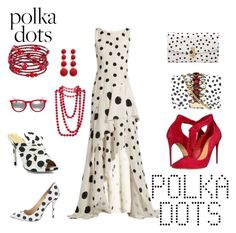 """Polka Dots"" by whitecastlenine on Polyvore featuring Oscar de la Renta, GEDEBE, Dolce&Gabbana, Schutz, 1928, Chanel, Kenneth Jay Lane, Ray-Ban and Charlotte Olympia"