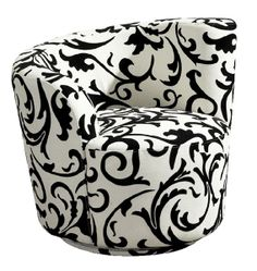 Black & White Swivel Tub Chair