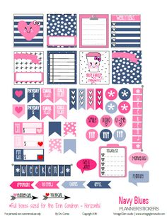 Free Printable Navy Blues Planner Stickers | Vintage Glam Studio