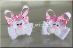 Pink Easter Bunny Hair Clips by GirlyKurlz.com ❤