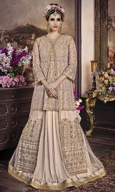 Buy online #Beige Floor Touch #Anarkali #Suit (SKU Code : SUEBRSYB108) at Ishimaya Fashion.