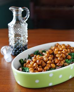Balsamic chic peas and mustard greens. Now I know what to do with my mustard green plant that is growing like crazy.