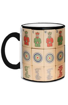 The Pung Chow Company out of Worcester, MA manufactured sets with distinctive Flowers and Dragons from 1923 until its untimely demise in 1925. This fabulous 11-ounce mug features images of Pung Chow's French Ivory tiles.