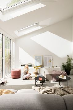 VELUX roof windows can bring in twice the amount of daylight as vertical windows making your extension feel brighter, lighter and more spacious. Bungalow Extensions, House Extensions, Single Storey Extension, Roof Window, Living Room Windows, Open Plan Living, Large Windows, Beautiful Homes, Home And Family