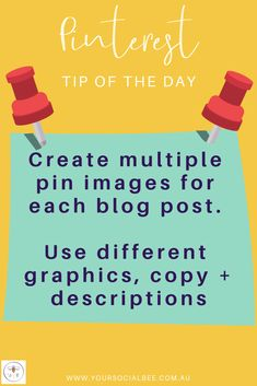 Maximise exposure for your blog posts by creating 2-3 pin images per blog article. Experiment with different designs, images and copy to see which style of pin resonates with your audience.  Follow my Pinterest Tip of the Day or subscribe to my list for more Pinterest tips and tricks. Social Media Content, Social Media Tips, Social Networks, Tips Instagram, Social Media Marketing Business, Tip Of The Day, Pinterest Marketing, Experiment, Blogging