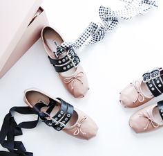 What are the must-have shoes of the season? Ballerina flats, of course. Get inspired by this reinvented . Miu Miu Ballerina, Ballerina Shoes, Fancy Shoes, Pretty Shoes, Me Too Shoes, Lace Up Ballet Flats, Miu Miu Ballet Flats, Miu Miu Tasche, Prada