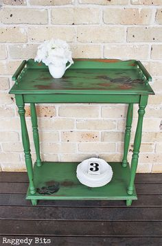 Add some Vintage Farmhouse charm to your decor with this Sweet Vintage Farmhouse Side Table. Painted using Sweet Pickins Milk Paint - In a Pickle, Dark Oil Wax and the Napkin Method