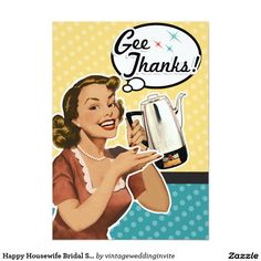 1689a7d9da9 Happy Housewife Bridal Shower Thank You Cards Retro Bridal Showers