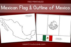 Teach your child about different cultures & countries. Up now: Mexico! Printables: Mexican Flag & Outline of Mexico