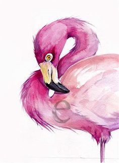 50 OFF FLAMINGO  ORiGINAL watercolor painting 8x10 by EcoProduct, $30.00