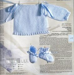 Jersey bebe azul Baby Knitting Patterns, Baby Patterns, Tricot Baby, Knitted Booties, Baby Vest, Baby On The Way, Heirloom Sewing, Sewing Basics, Garter Stitch