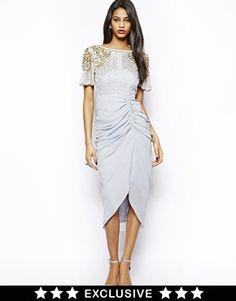 Image 1 ofVirgos Lounge Denise Midi Dress with Embellished Shoulder