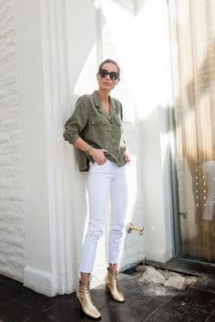 Editor's Note A feminine twist on military apparel, this lightweight button-up is an easy piece made to style solo or layer with your favorite tees and tanks. D