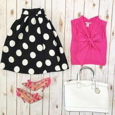 Black polka dot flare skirt, pink bow blouse, Kate Spade polka dot pumps, white purse // Click the following link to see outfit details and photos:   http://www.stylishpetite.com/2015/03/instagram-lately.html