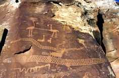 Fremont, Anasazi and Ute rock art petroglyphs & pictographs at Nine Mile Canyon, Utah - horned serpents