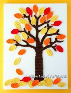 This crochet wall art was created in admiration of the Fall season. For this wall art you need to crochet a tree and a lot of leaves in different colors. Crochet Wall Art, Crochet Tree, Crochet Wall Hangings, Crochet Christmas Trees, Crochet Leaves, Crochet Fall, Halloween Crochet, Crochet Flowers, Crochet Leaf Patterns