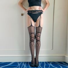 2016 Hot Sexy Stockings Women's Floral Lace Garter Belt Stockings Ladies Suspender Stockings Lingeries Garters Women Mesh Tights