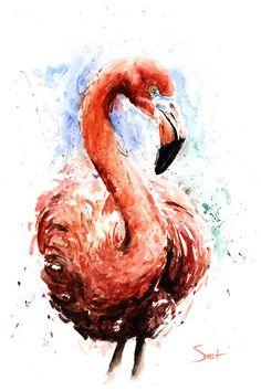 WATERCOLOR FLAMINGO ART flamingo wall art pink by SignedSweet