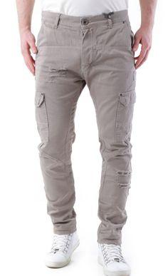 Pantaloni Uomo Multitasche Cotone Bottoni