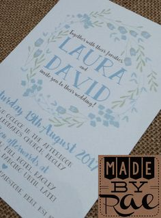 Baby Blue White Green Rustic Brown Fl Wedding Invitations With Collection To Match