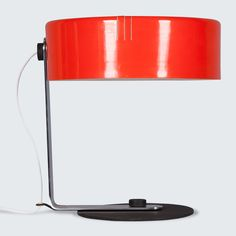 ITALIAN TABLE LAMP WITH RED METAL LAMP SHADE, line Stunning Italian table lamp with a chrome arm and simple black base. A striking colour and simple design, this piece has been rewired for Australian voltage standards. Italian Table, Mid Century Lighting, Modern Times, Simple Designs, Floor Lamp, 1950s, Restoration, Chrome, Arm