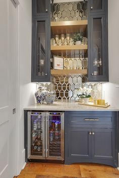 Apricot Lane Butlers Pantry bar Sherwin Williams Sea Serpent Navy paint Antique mirror backsplash Be Home Wet Bar, Bars For Home, New Kitchen, Kitchen Decor, Funny Kitchen, Home Bar Designs, Butler Pantry, Home Remodeling, Basement Renovations
