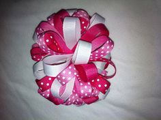 Beautiful children's hair bow! Loopy Style hair bow! Pink and white mixed colors. Alligator clip. on Etsy, $5.99