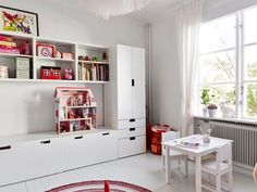 IKEA storage system in children room in playroom decor, boy room decor, girl room decor with toy storage Ikea Playroom, Ikea Kids Room, Playroom Furniture, Kids Bedroom, Ikea Childrens Bedroom, Trendy Bedroom, Kids Playroom Storage, Children Storage, Ikea Loft
