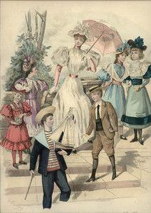 Original Hand Colored Engraving Revue Mode 1893