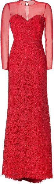 60cd5eb1471 Valentino - Red Lace Silk-cotton Gown