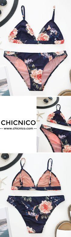 $25.99 Chicnico On Holiday Floral Print Bikini Set