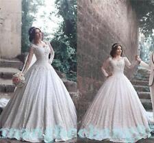 Elegant A-Line White/Ivory Wedding Dress Bridal Gown Custom Made Plus Size 2-28