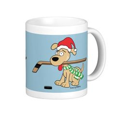 Hockey Dog Christmas Mug