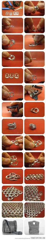 Bolso con anillas de latas. upcycle