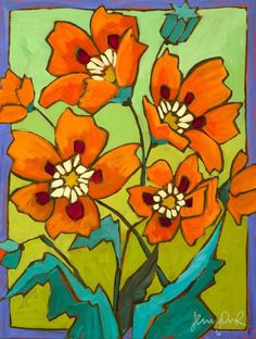 This is an original acrylic and oil pastel painting on wood panel by Jenny Christiansen. The painting is ready for hanging without a frame. Art Floral, Floral Watercolor, Painting Prints, Art Prints, Orange Poppy, Mini Canvas Art, Expressive Art, Naive Art, Abstract Flowers