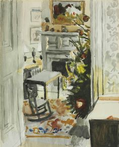 Fairfield Porter (American 1907-1975),Interior with Christmas Tree, 1971. Watercolor and pencil on paper, 20 x 16 in.