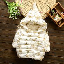 2016 children outerwear baby girls jacket children winter star hooded coat kids Christmas clothing Girls Down Parkas 0-3T(China (Mainland))