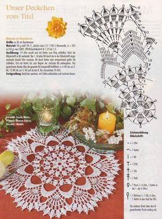 "Photo from album ""FiletHakeln Sonderheft - FI 226 Filethakeln und hakelspitzen"" on Crochet Dollies, Crochet Potholders, Crochet Tablecloth, Crochet Doily Diagram, Crochet Doily Patterns, Thread Crochet, Crochet Table Topper, Knitting Magazine, Lace Doilies"