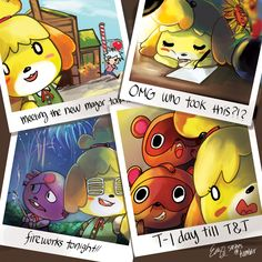 an animal crossing piece I did awhile back for the ACNL anthology! Isabelle selfies! B)