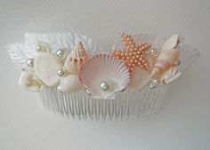 Items similar to Mermaid's Comb-Beach Bridal Comb- Beach Wedding Hair Accessory-Mermaid Sea Shell Comb-White Bridal Sea Shell Comb-Wedding Hair on Etsy Seashell Crown, Seashell Wedding, Beach Wedding Hair, Seashell Jewelry, Seashell Art, Seashell Crafts, Wedding Poses, Wedding Ideas, Mermaid Hair Accessories