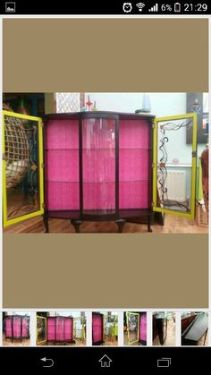 Vintage Retro Upcycled Glass Display Cabinet Glass