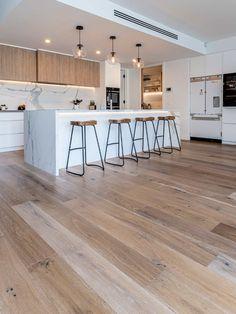 Wooden Kitchen Floor, Wooden Floors Living Room, Bedroom Wooden Floor, Timber Kitchen, Bedroom Flooring, Kitchen Flooring, Modern Bathroom Tile, Bathroom Interior Design, Kitchen Interior