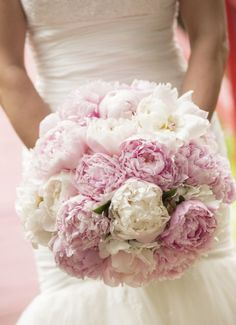 Featured Photographer: Richard Ellis Photography; Classic white and pink peonies wedding bouquet