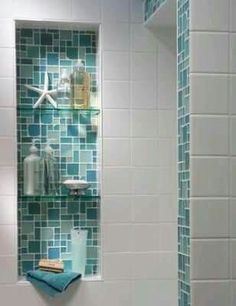 Tiled alcove adding a splash of color with white tiles (beach house bathroom ) Coastal Bathrooms, Beach Bathrooms, Beach House Bathroom, Beach House Kitchens, Tiny Bathrooms, Bad Inspiration, Bathroom Inspiration, Shower Remodel, Bath Remodel