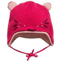 Catimini Baby Girls Fuchsia Pink Cat Knitted Cotton Hat  at Childrensalon.com