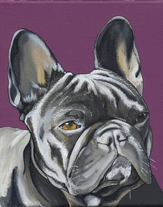 French Bulldog Painting 21X30cm in purple... by blackspecs on Etsy, €85.00