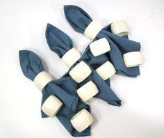 White Napkin Rings Oval Napkin Holders Set of 11 by ReneesRetro / vintage / etsy / napkin rings / table linen