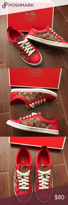Coach tennis shoes Coach tennis shoes. Red, white, and brown. CC design. Worn once. In like new condition! The red part of the shoe is leather. Will come with the box Coach Shoes Sneakers